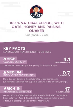100 % Natural Cereal, with oats, honey and raisins, Quaker