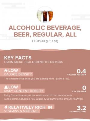 Alcoholic beverage, beer, regular, all