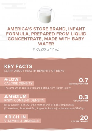 America's Store Brand, infant formula, prepared from liquid concentrate, made with baby water
