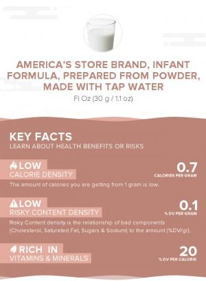America's Store Brand, infant formula, prepared from powder, made with tap water