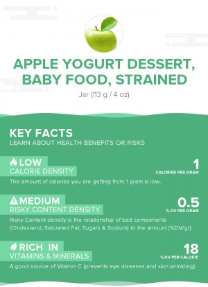 Apple yogurt dessert, baby food, strained