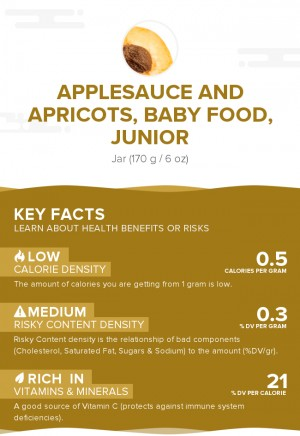 Applesauce and apricots, baby food, junior