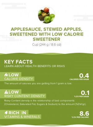 Applesauce, stewed apples, sweetened with low calorie sweetener