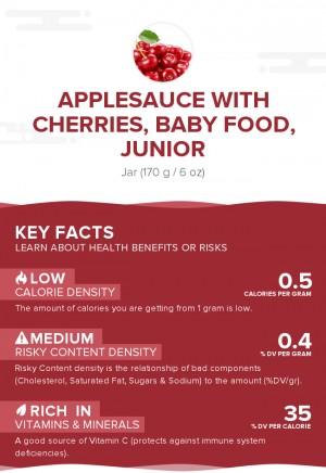 Applesauce with cherries, baby food, junior