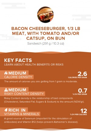 Bacon cheeseburger, 1/3 lb meat, with tomato and/or catsup, on bun