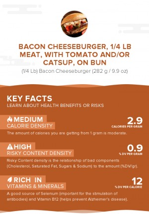Bacon cheeseburger, 1/4 lb meat, with tomato and/or catsup, on bun