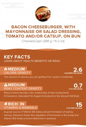 Bacon cheeseburger, with mayonnaise or salad dressing, tomato and/or catsup, on bun