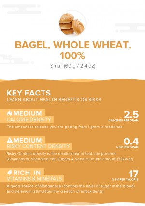 Bagel, whole wheat, 100%