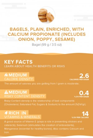 Bagels, plain, enriched, with calcium propionate (includes onion, poppy, sesame)