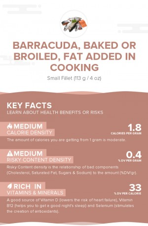 Barracuda, baked or broiled, fat added in cooking