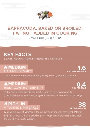 Barracuda, baked or broiled, fat not added in cooking