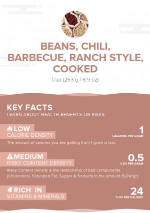 Beans, chili, barbecue, ranch style, cooked