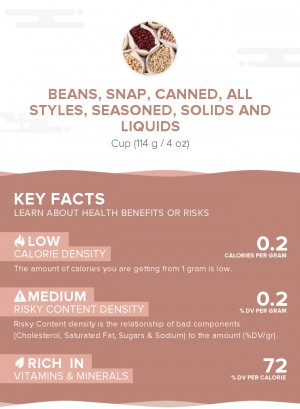 Beans, snap, canned, all styles, seasoned, solids and liquids