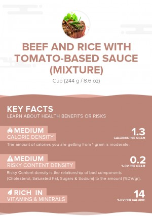 Beef and rice with tomato-based sauce (mixture)