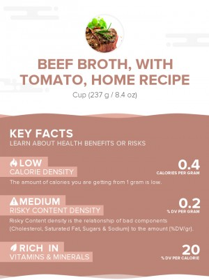 Beef broth, with tomato, home recipe