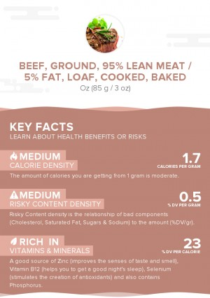 Beef, ground, 95% lean meat / 5% fat, loaf, cooked, baked