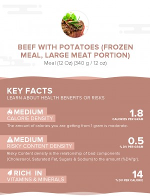 Beef with potatoes (frozen meal, large meat portion)