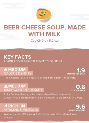 Beer cheese soup, made with milk