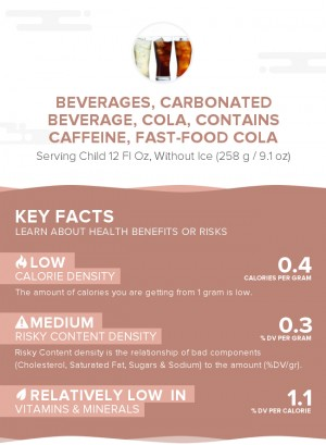 Beverages, Carbonated beverage, cola, contains caffeine, fast-food cola