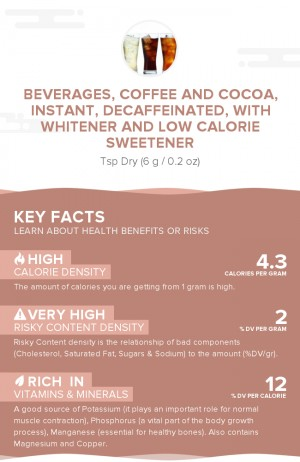 Beverages, coffee and cocoa, instant, decaffeinated, with whitener and low calorie sweetener