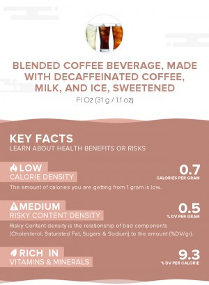 Blended coffee beverage, made with decaffeinated coffee, milk, and ice, sweetened