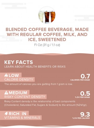 Blended coffee beverage, made with regular coffee, milk, and ice, sweetened