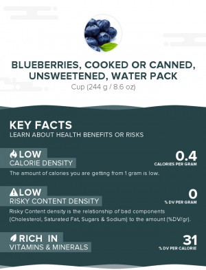 Blueberries, cooked or canned, unsweetened, water pack