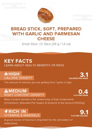 Bread stick, soft, prepared with garlic and parmesan cheese