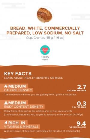 Bread, white, commercially prepared, low sodium, no salt