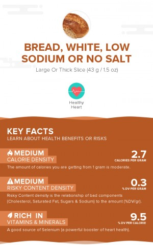 Bread, white, low sodium or no salt