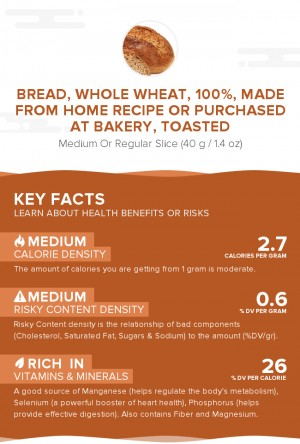 Bread, whole wheat, 100%, made from home recipe or purchased at bakery, toasted