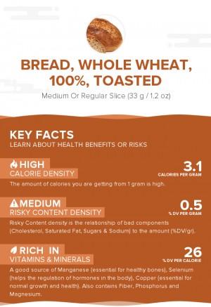 Bread, whole wheat, 100%, toasted
