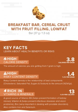 Breakfast bar, cereal crust with fruit filling, lowfat
