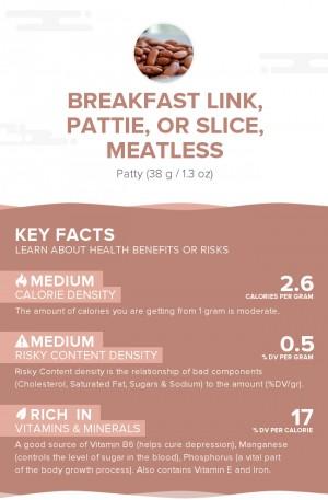Breakfast link, pattie, or slice, meatless