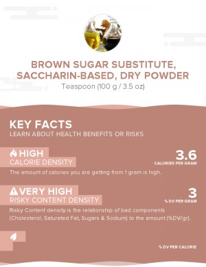 Brown sugar substitute, saccharin-based, dry powder
