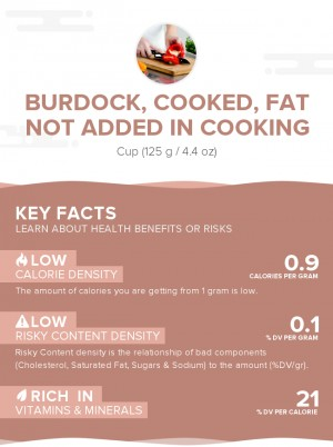 Burdock, cooked, fat not added in cooking