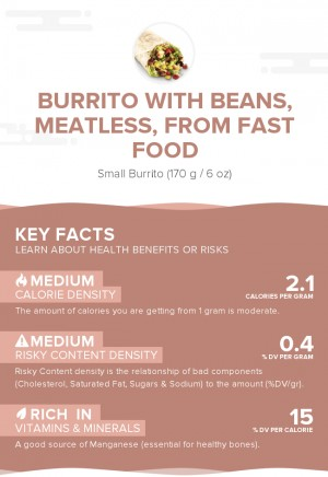 Burrito with beans, meatless, from fast food