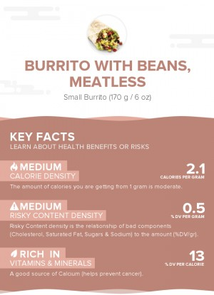 Burrito with beans, meatless