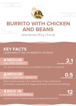 Burrito with chicken and beans