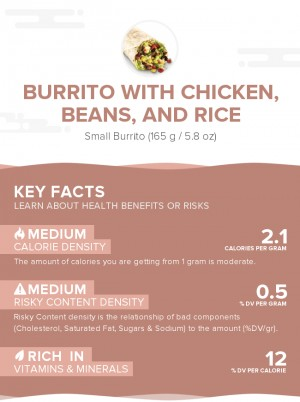 Burrito with chicken, beans, and rice