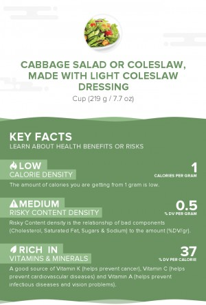 Cabbage salad or coleslaw, made with light coleslaw dressing
