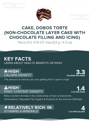Cake, Dobos Torte (non-chocolate layer cake with chocolate filling and icing)
