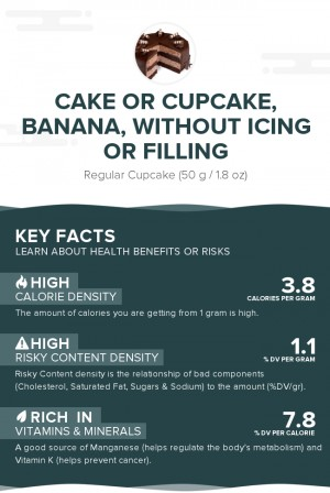 Cake or cupcake, banana, without icing or filling