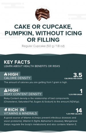 Cake or cupcake, pumpkin, without icing or filling