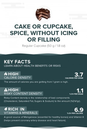 Cake or cupcake, spice, without icing or filling