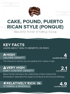 Cake, pound, Puerto Rican style (Ponque)