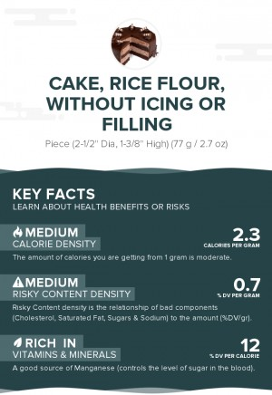 Cake, rice flour, without icing or filling