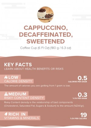 Cappuccino, decaffeinated, sweetened