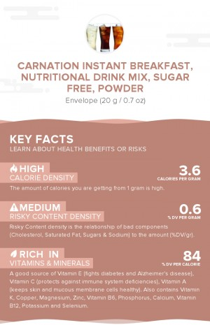 Carnation Instant Breakfast, nutritional drink mix, sugar free, powder