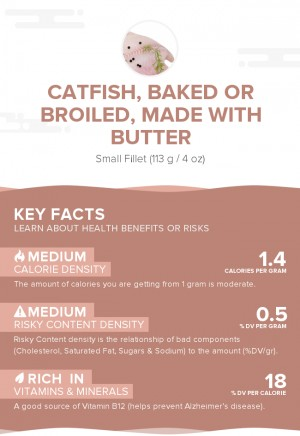 Catfish, baked or broiled, made with butter